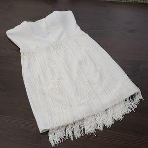 Ark & Co Strapless White Fringe Dress